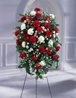 Crimson & White Standing Spray from Arthur Pfeil Smart Flowers in San Antonio, TX